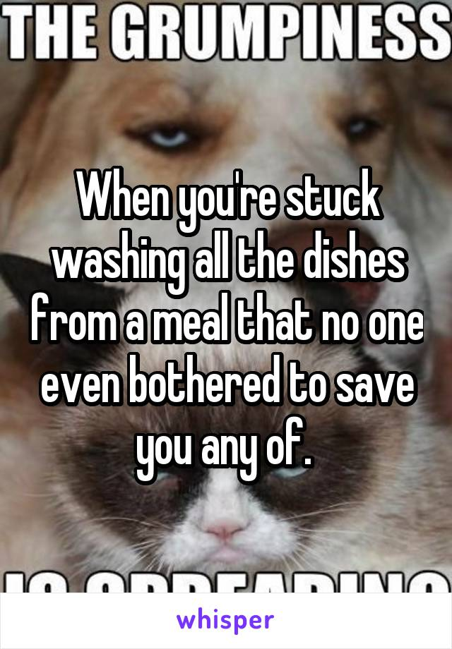 When you're stuck washing all the dishes from a meal that no one even bothered to save you any of.
