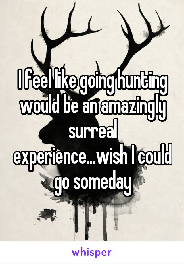 I feel like going hunting would be an amazingly surreal experience...wish I could go someday