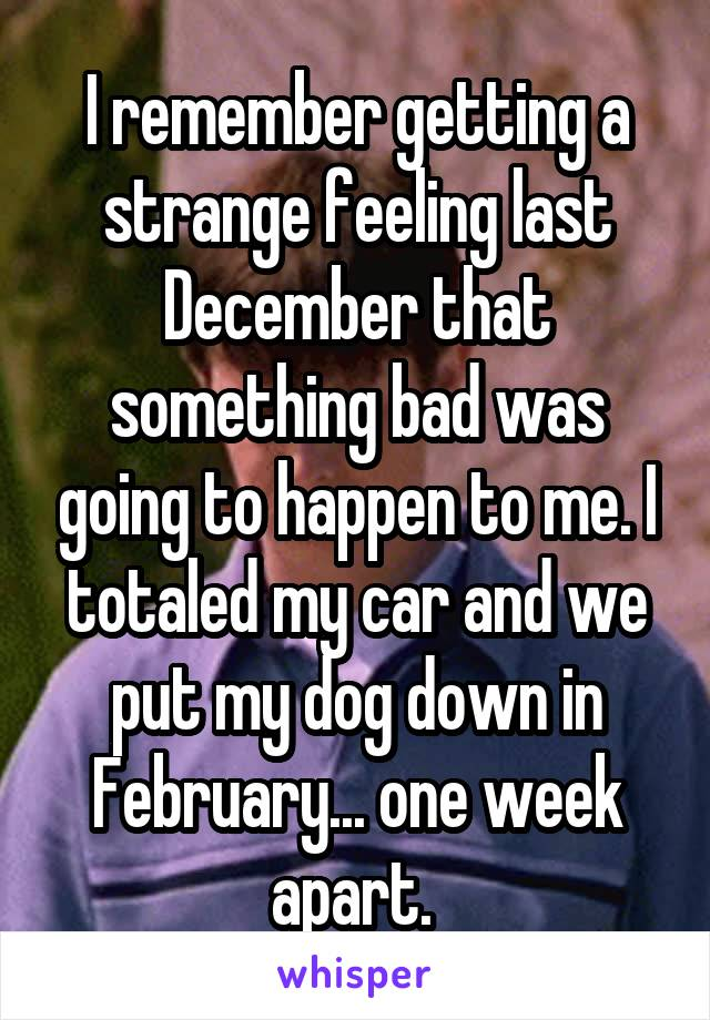 I remember getting a strange feeling last December that something bad was going to happen to me. I totaled my car and we put my dog down in February... one week apart.
