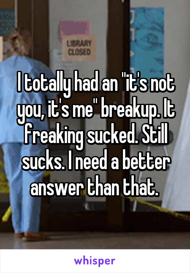 """I totally had an """"it's not you, it's me"""" breakup. It freaking sucked. Still sucks. I need a better answer than that."""