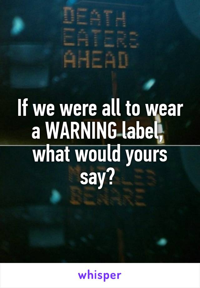 If we were all to wear a WARNING label,  what would yours say?