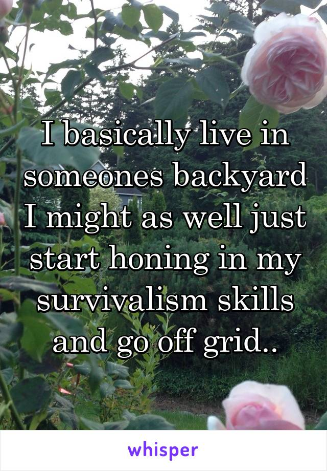 I basically live in someones backyard I might as well just start honing in my survivalism skills and go off grid..