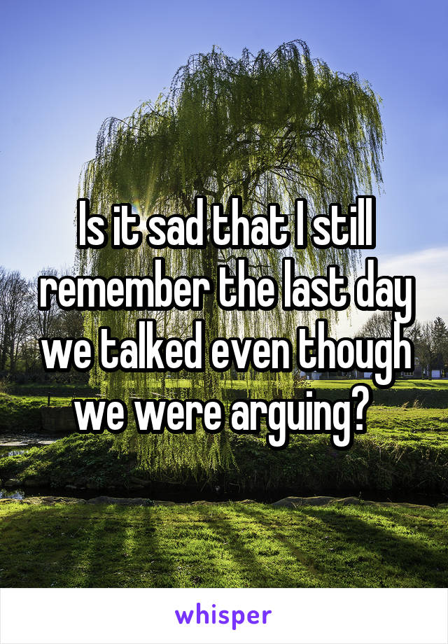 Is it sad that I still remember the last day we talked even though we were arguing?