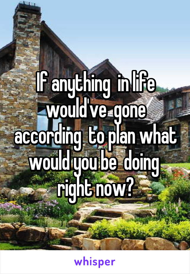If anything  in life would've  gone according  to plan what would you be  doing  right now?