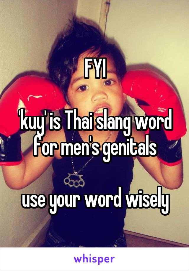 FYI  'kuy' is Thai slang word for men's genitals  use your word wisely