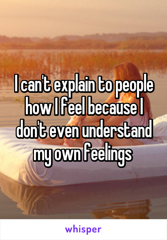 I can't explain to people how I feel because I don't even understand my own feelings