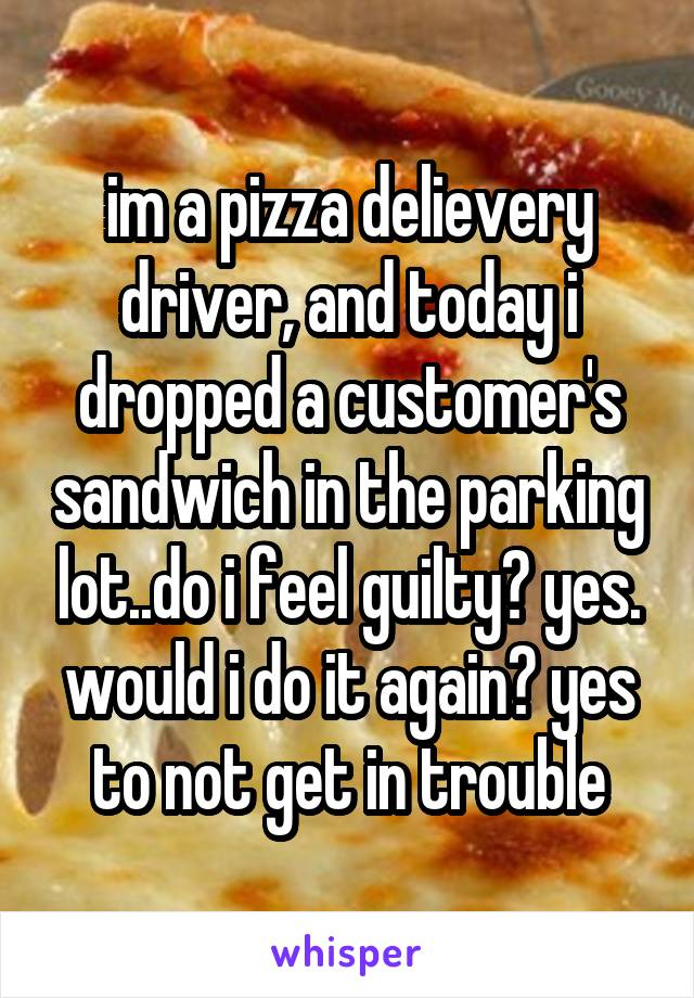 im a pizza delievery driver, and today i dropped a customer's sandwich in the parking lot..do i feel guilty? yes. would i do it again? yes to not get in trouble