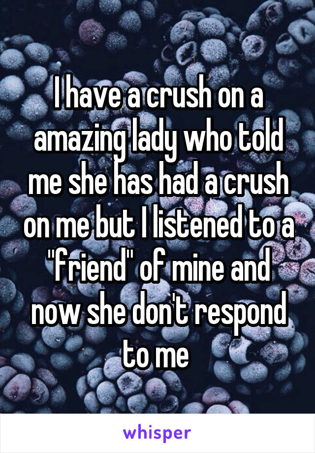"""I have a crush on a amazing lady who told me she has had a crush on me but I listened to a """"friend"""" of mine and now she don't respond to me"""
