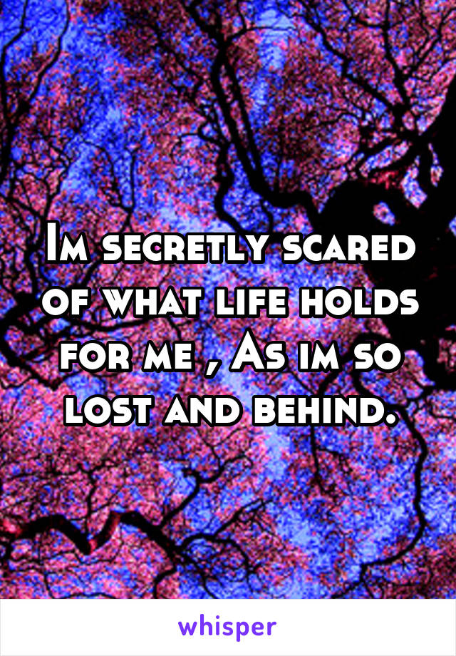 Im secretly scared of what life holds for me , As im so lost and behind.