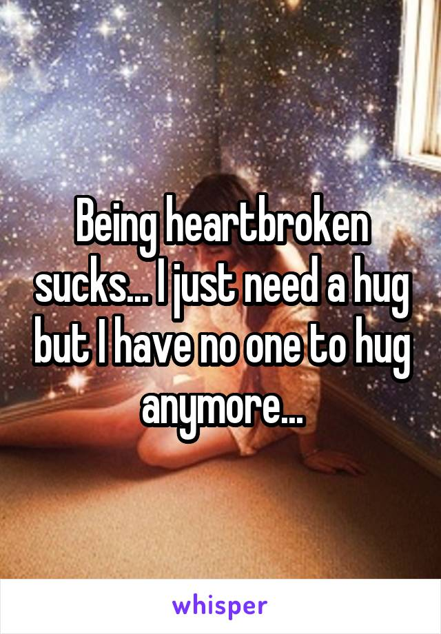 Being heartbroken sucks... I just need a hug but I have no one to hug anymore...
