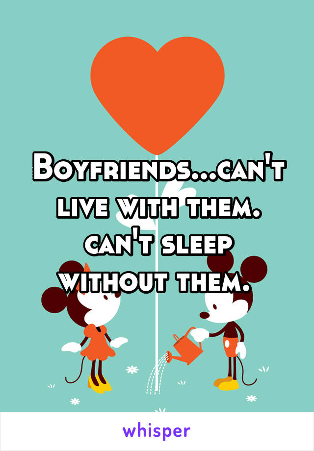 Boyfriends...can't live with them. can't sleep without them.