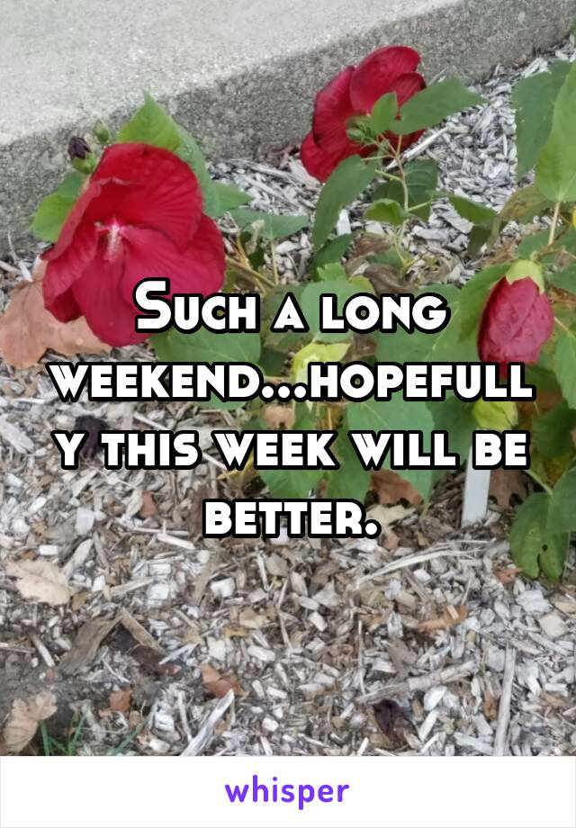 Such a long weekend...hopefully this week will be better.