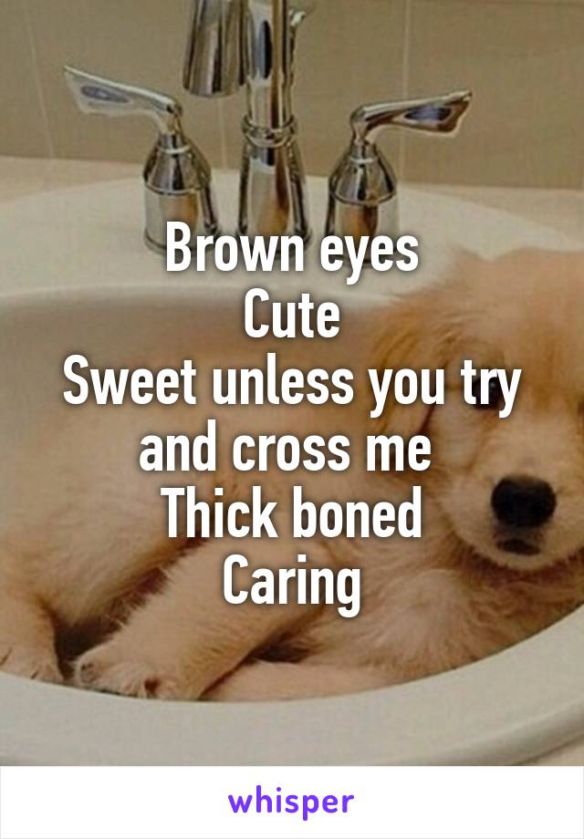 Brown eyes Cute Sweet unless you try and cross me  Thick boned Caring