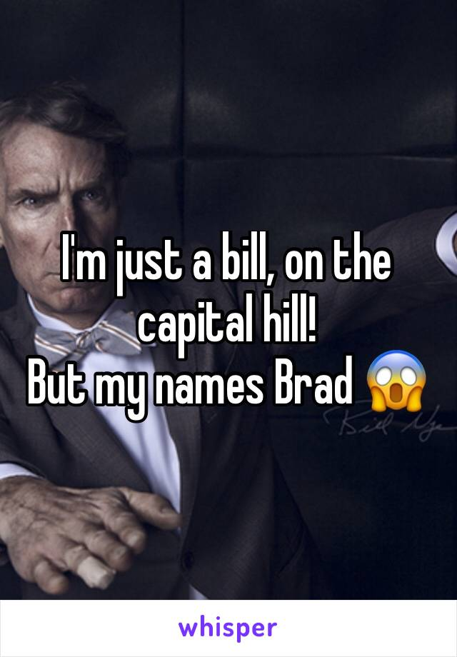 I'm just a bill, on the capital hill! But my names Brad 😱