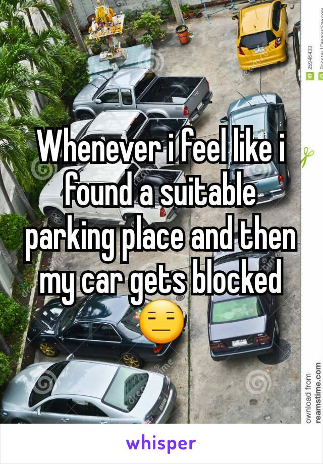 Whenever i feel like i found a suitable parking place and then my car gets blocked 😑