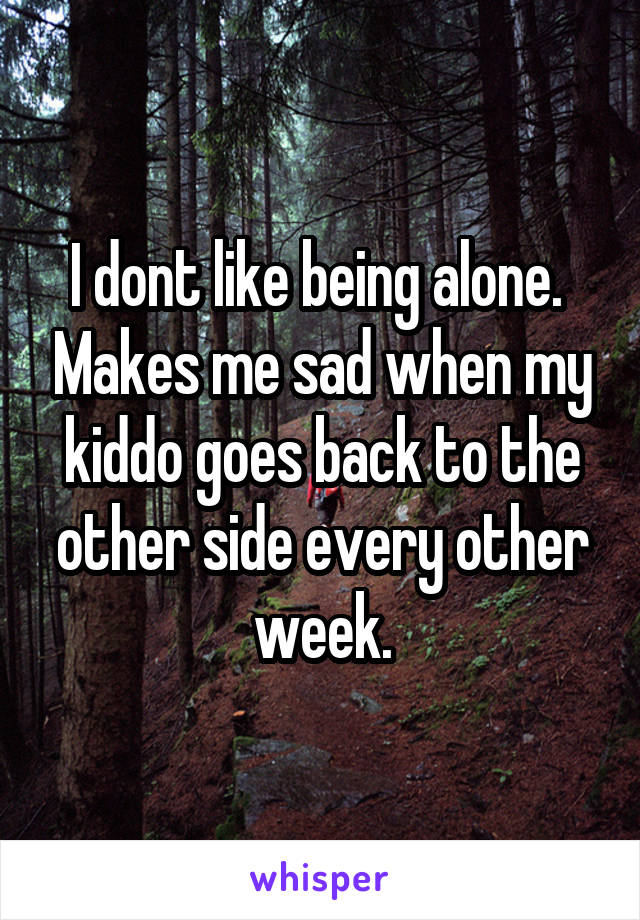 I dont like being alone.  Makes me sad when my kiddo goes back to the other side every other week.