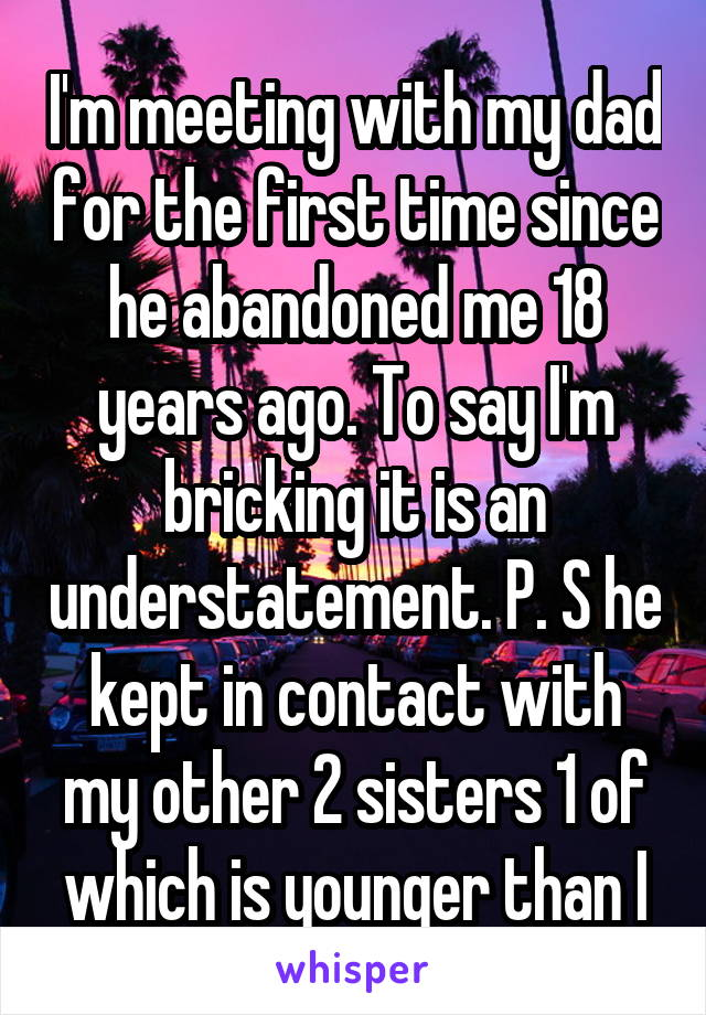 I'm meeting with my dad for the first time since he abandoned me 18 years ago. To say I'm bricking it is an understatement. P. S he kept in contact with my other 2 sisters 1 of which is younger than I