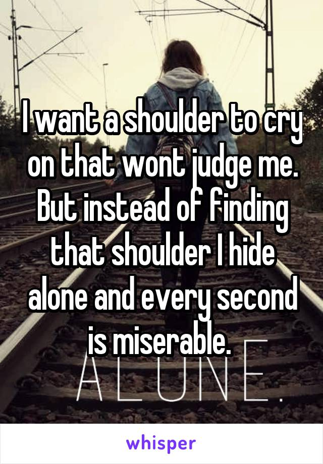 I want a shoulder to cry on that wont judge me. But instead of finding that shoulder I hide alone and every second is miserable.