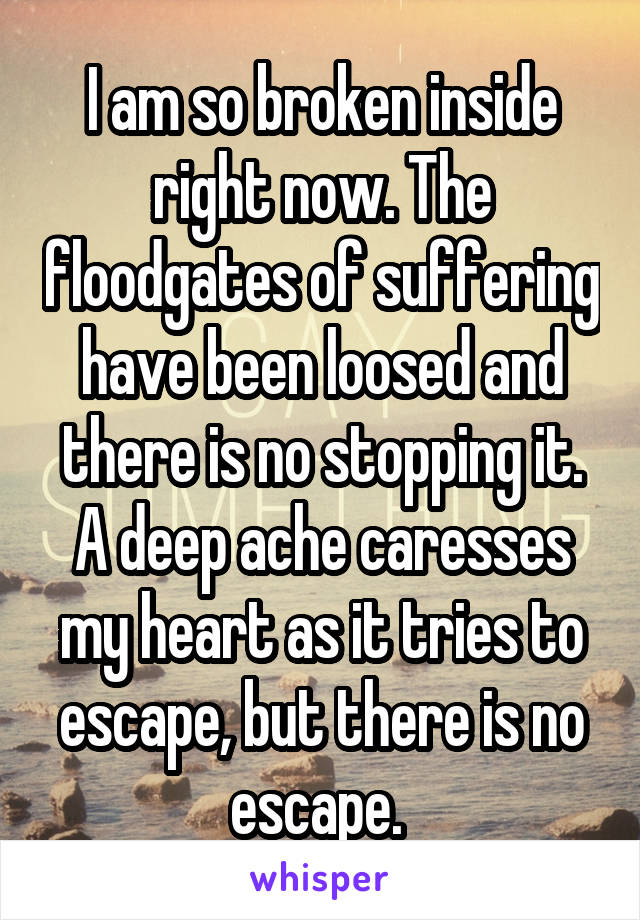 I am so broken inside right now. The floodgates of suffering have been loosed and there is no stopping it. A deep ache caresses my heart as it tries to escape, but there is no escape.