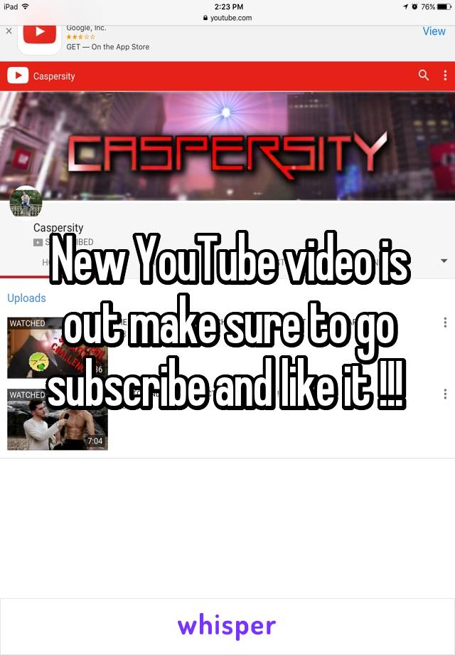 New YouTube video is out make sure to go subscribe and like it !!!
