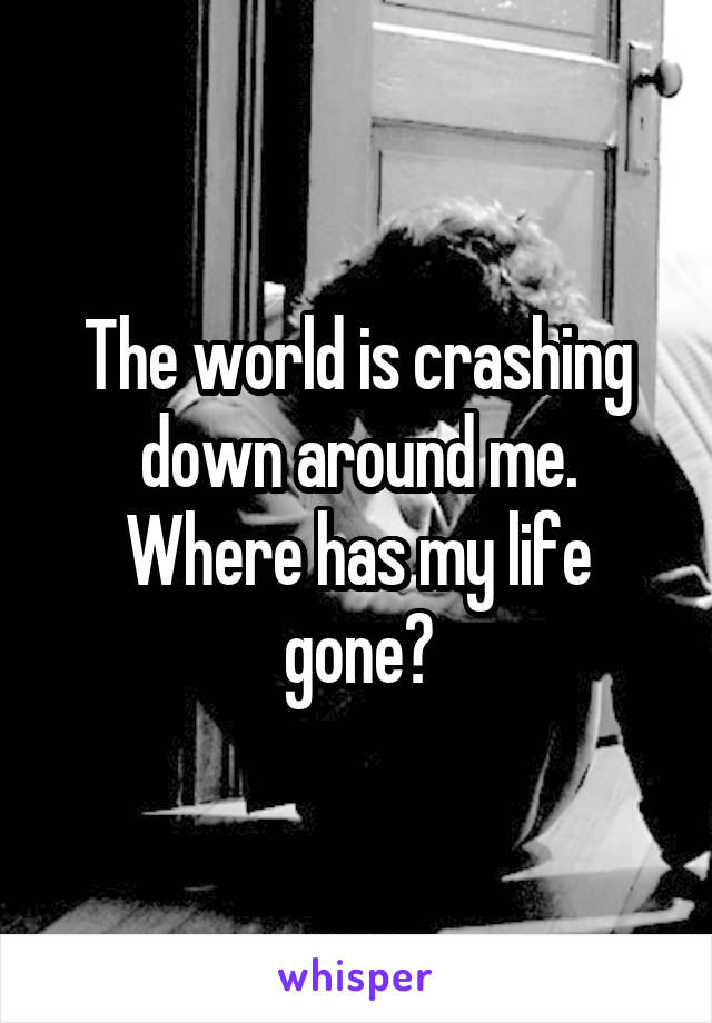 The world is crashing down around me. Where has my life gone?