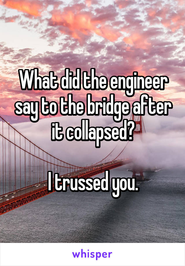 What did the engineer say to the bridge after it collapsed?  I trussed you.