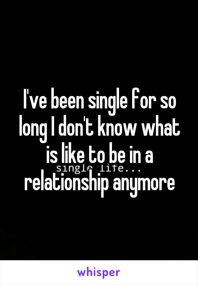 I've been single for so long I don't know what is like to be in a relationship anymore