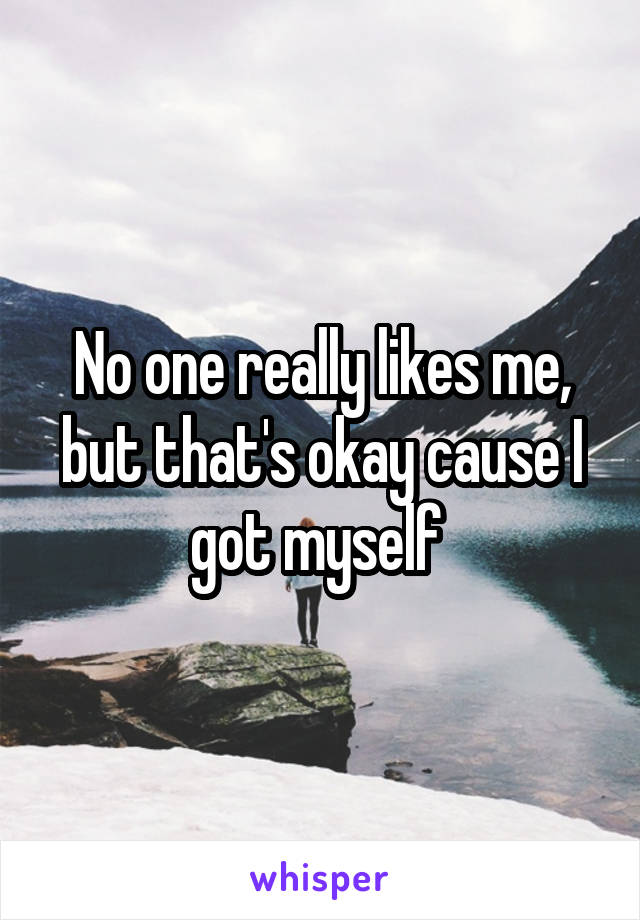 No one really likes me, but that's okay cause I got myself