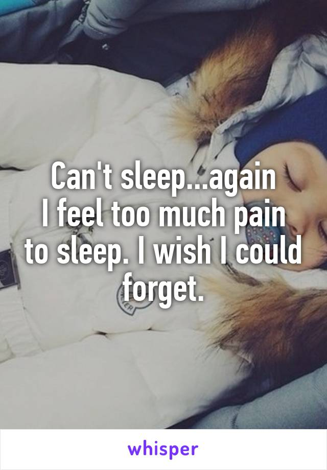 Can't sleep...again I feel too much pain to sleep. I wish I could forget.