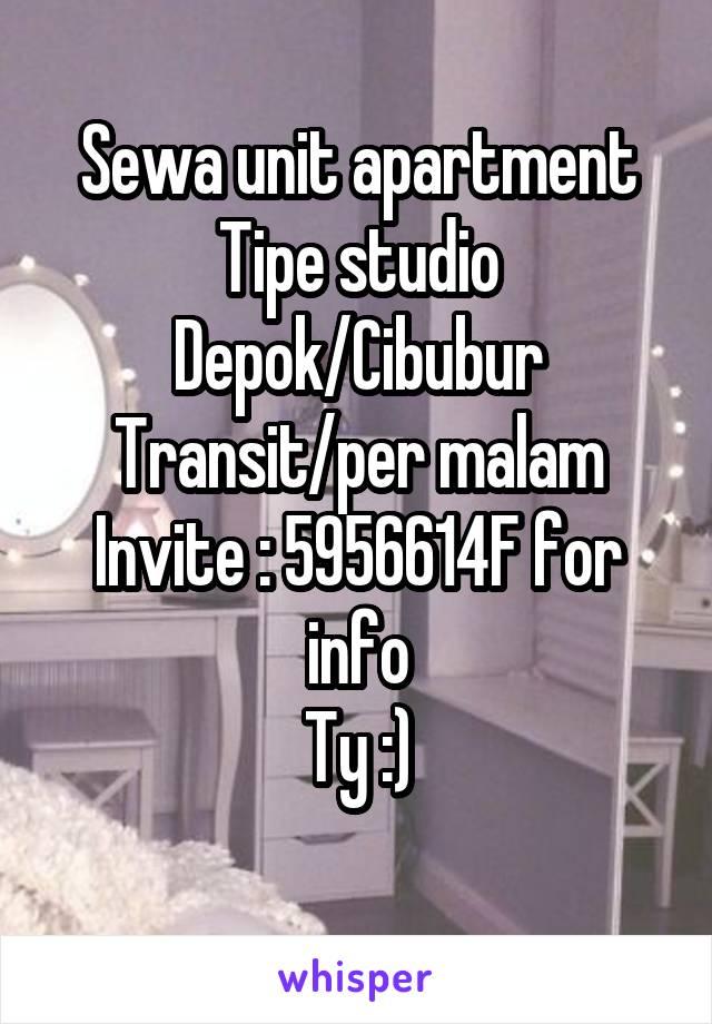 Sewa unit apartment Tipe studio Depok/Cibubur Transit/per malam Invite : 5956614F for info Ty :)