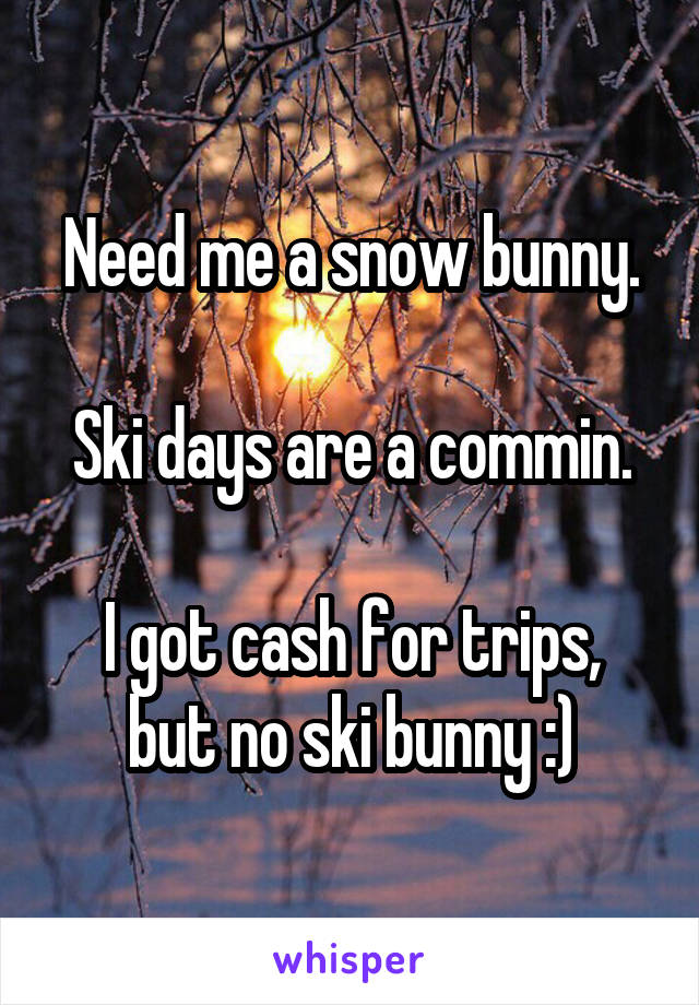 Need me a snow bunny.  Ski days are a commin.  I got cash for trips, but no ski bunny :)