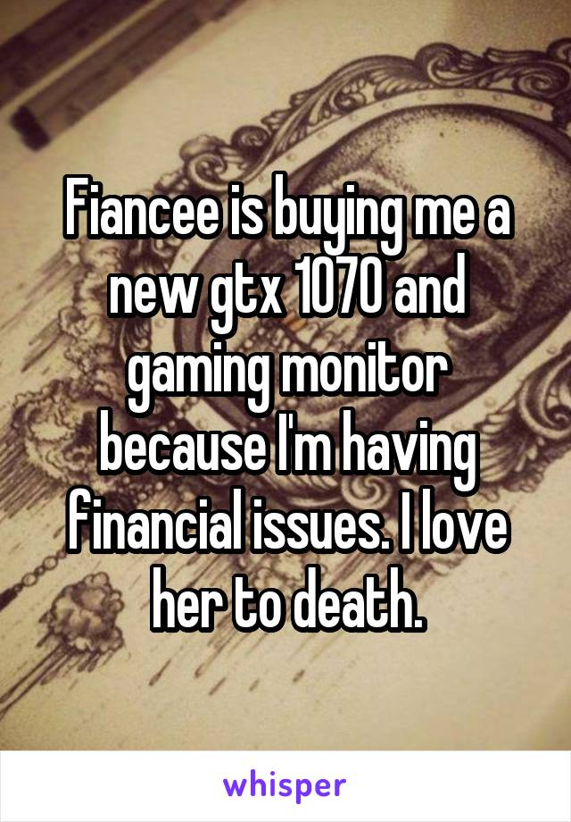 Fiancee is buying me a new gtx 1070 and gaming monitor because I'm having financial issues. I love her to death.