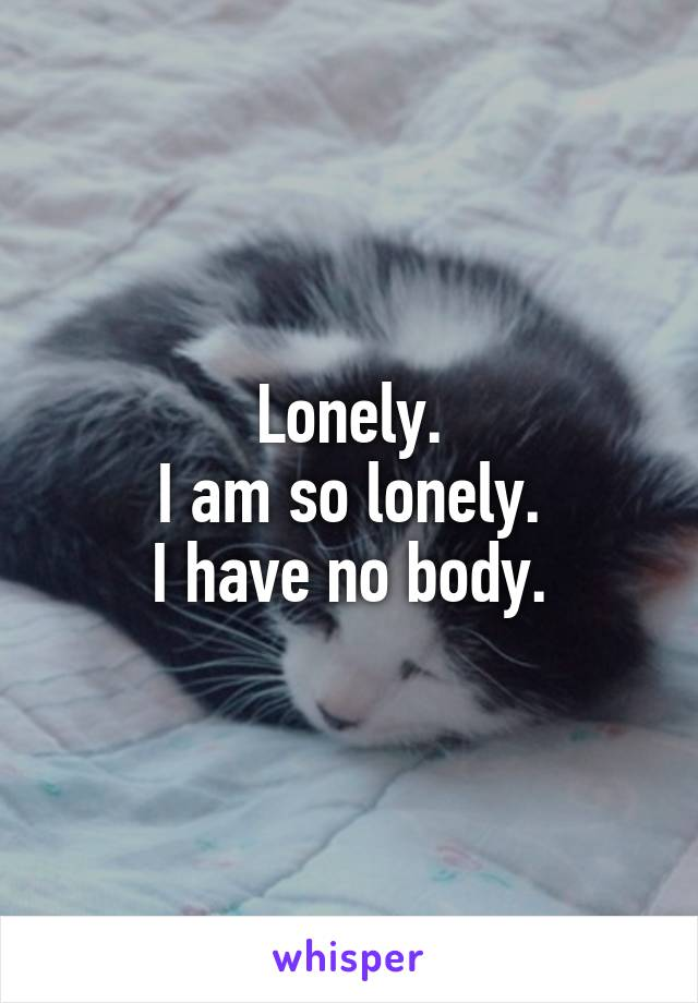 Lonely. I am so lonely. I have no body.