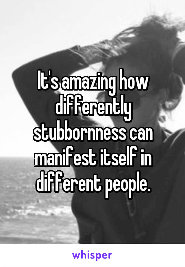 It's amazing how differently stubbornness can manifest itself in different people.