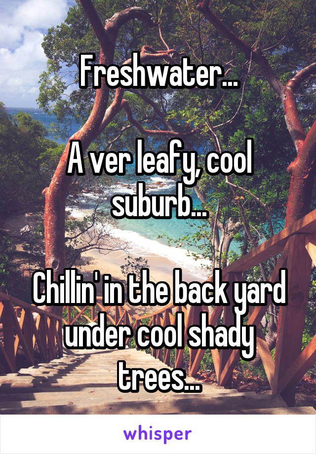 Freshwater...  A ver leafy, cool suburb...  Chillin' in the back yard under cool shady trees...
