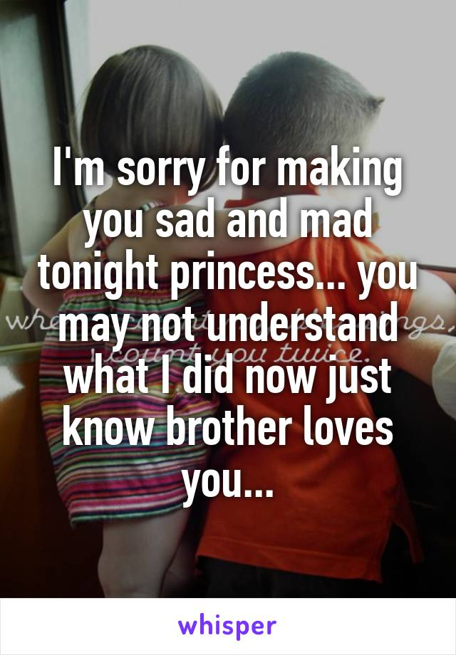I'm sorry for making you sad and mad tonight princess... you may not understand what I did now just know brother loves you...