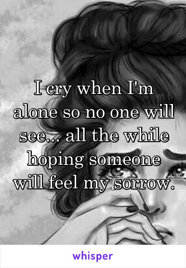 I cry when I'm alone so no one will see... all the while hoping someone will feel my sorrow.