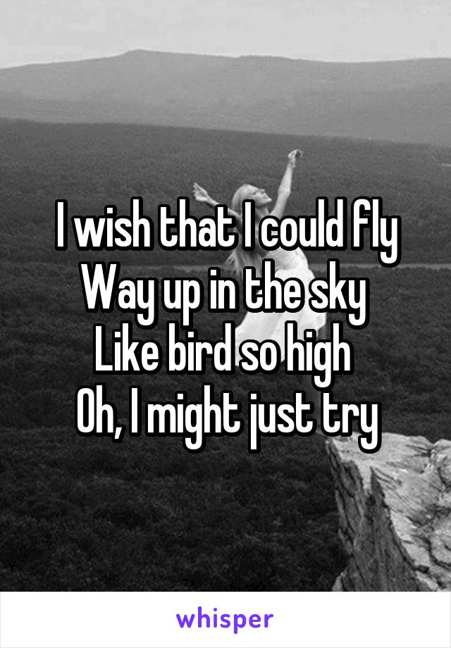 I wish that I could fly Way up in the sky  Like bird so high  Oh, I might just try