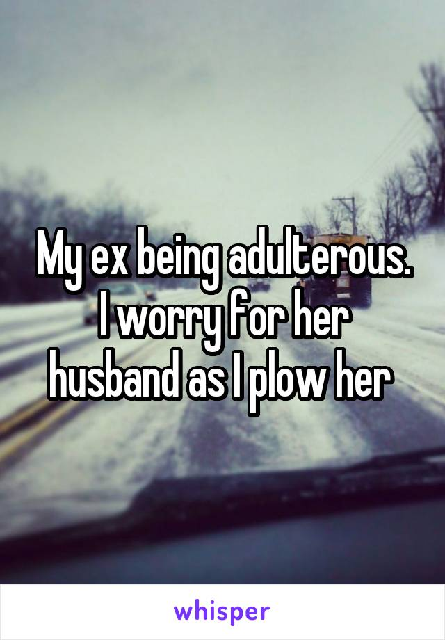 My ex being adulterous. I worry for her husband as I plow her