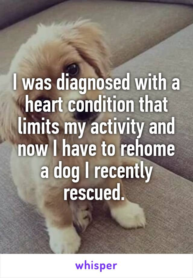I was diagnosed with a heart condition that limits my activity and now I have to rehome a dog I recently rescued.
