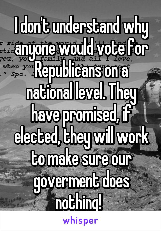 I don't understand why anyone would vote for Republicans on a national level. They have promised, if elected, they will work to make sure our goverment does nothing!