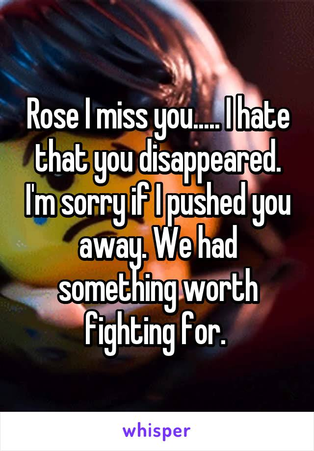 Rose I miss you..... I hate that you disappeared. I'm sorry if I pushed you away. We had something worth fighting for.