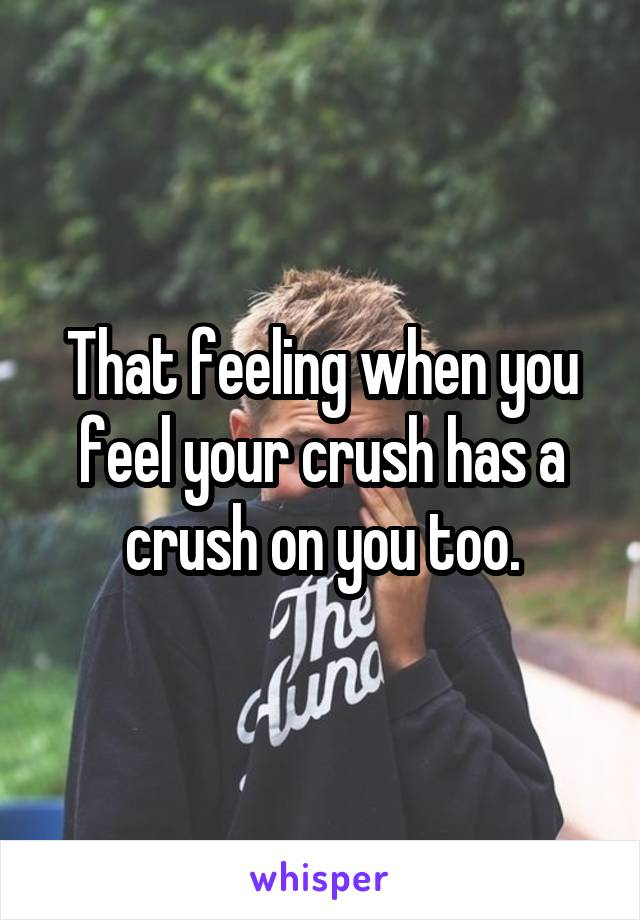 That feeling when you feel your crush has a crush on you too.