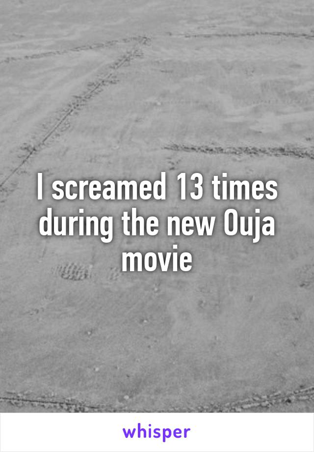 I screamed 13 times during the new Ouja movie