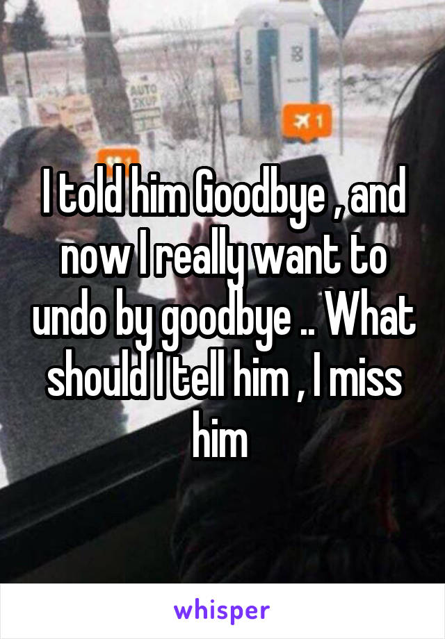 I told him Goodbye , and now I really want to undo by goodbye .. What should I tell him , I miss him
