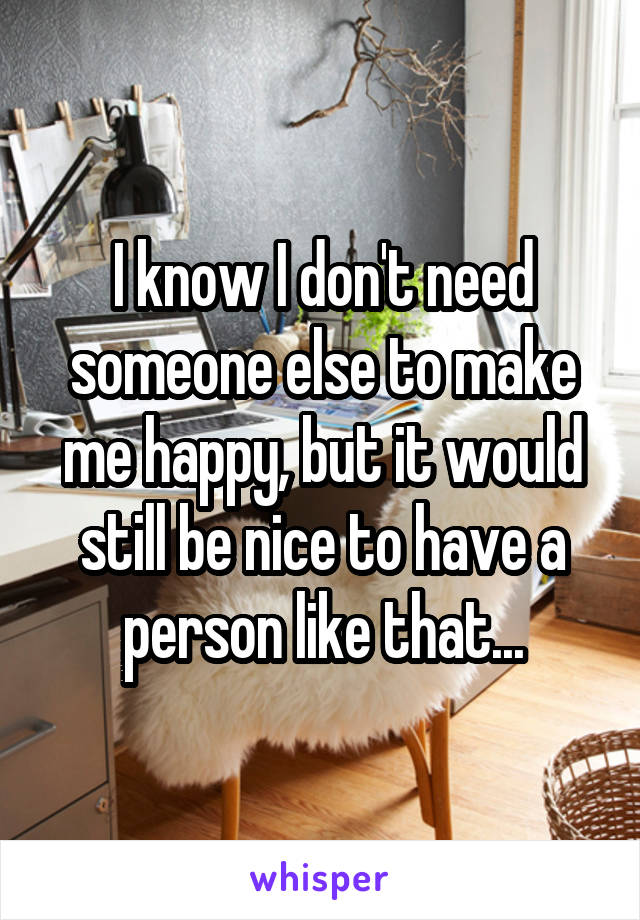 I know I don't need someone else to make me happy, but it would still be nice to have a person like that...