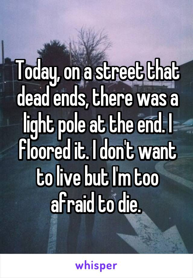 Today, on a street that dead ends, there was a light pole at the end. I floored it. I don't want to live but I'm too afraid to die.