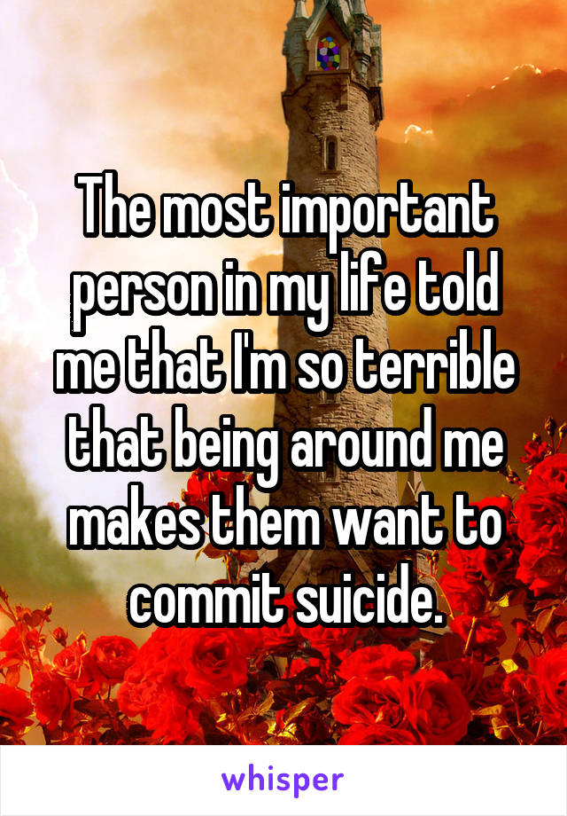 The most important person in my life told me that I'm so terrible that being around me makes them want to commit suicide.