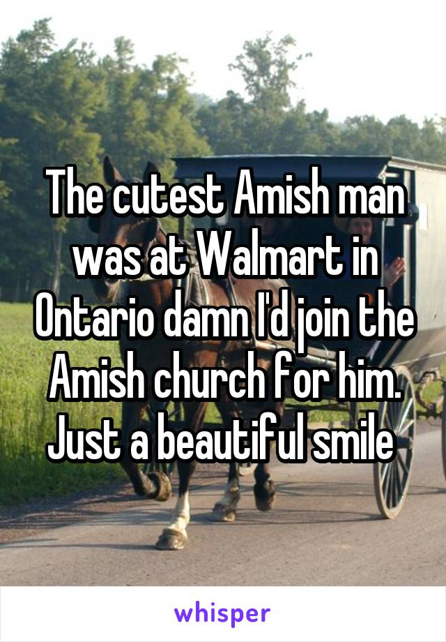 The cutest Amish man was at Walmart in Ontario damn I'd join the Amish church for him. Just a beautiful smile