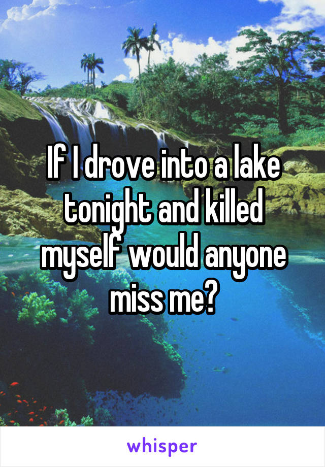 If I drove into a lake tonight and killed myself would anyone miss me?
